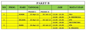 Jadwal UNPP Paket B 2013