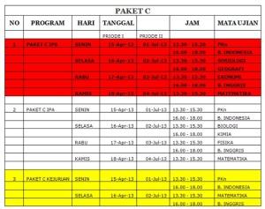 Jadwal UNPP Paket C 2013